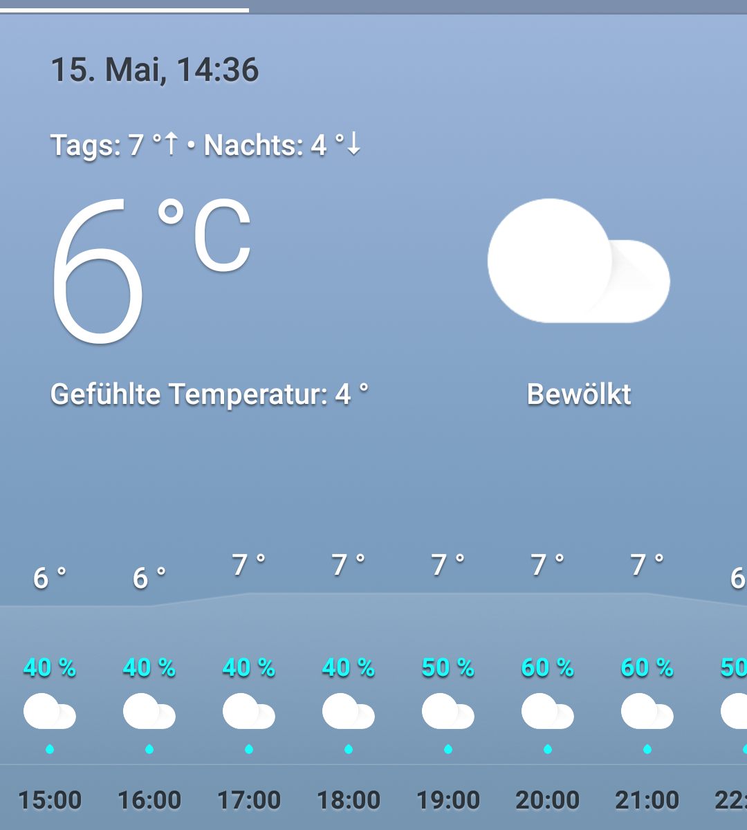 "Screenshot Google Weather mit ""Gefühlte Temperatur 3°"""